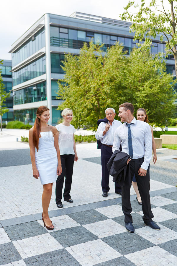 Business people walking in city royalty free stock images