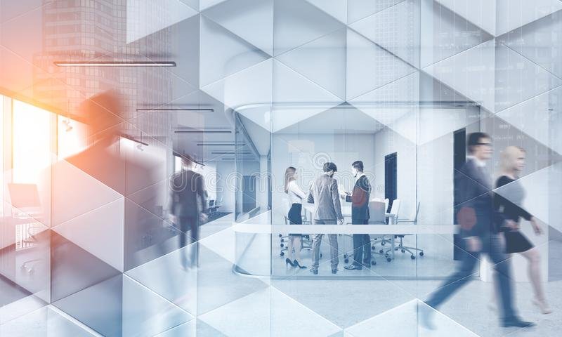 Business people in modern office geometric pattern. Business people walking and talking in a modern company office. Geometric pattern and skyscrapers foreground royalty free stock photo