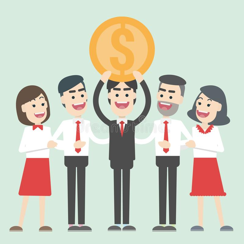 Business people win golden coin. vector illustration. Business People win golden coin. young man are talented, intelligent and determined to advance to success stock illustration