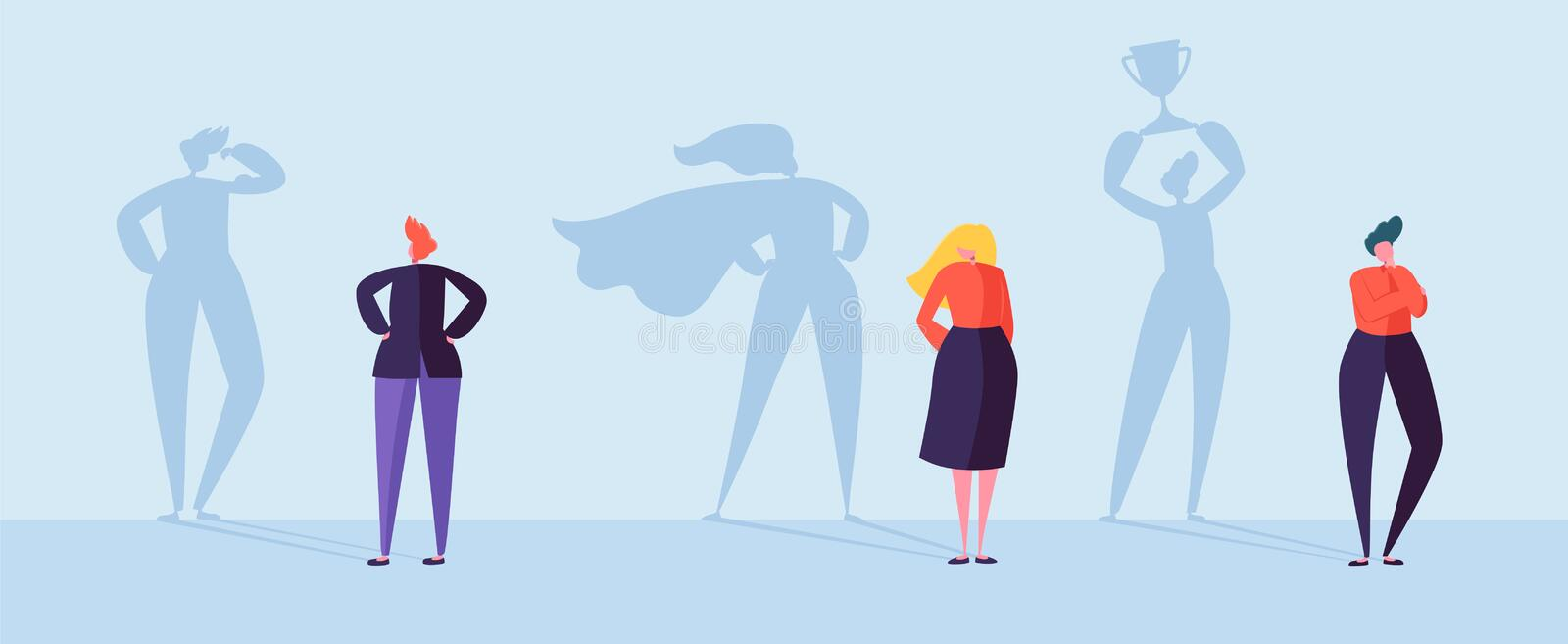 Business People with Winner Shadow. Male and Female Characters with Silhouettes of Leadership, Achievement Motivation. Business People with Winner Shadow. Male stock illustration