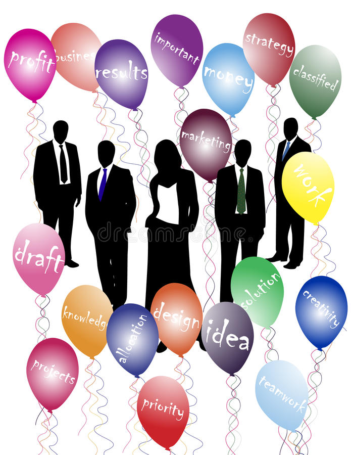Business people and words. Vector illustration of business people and words with balloons stock illustration