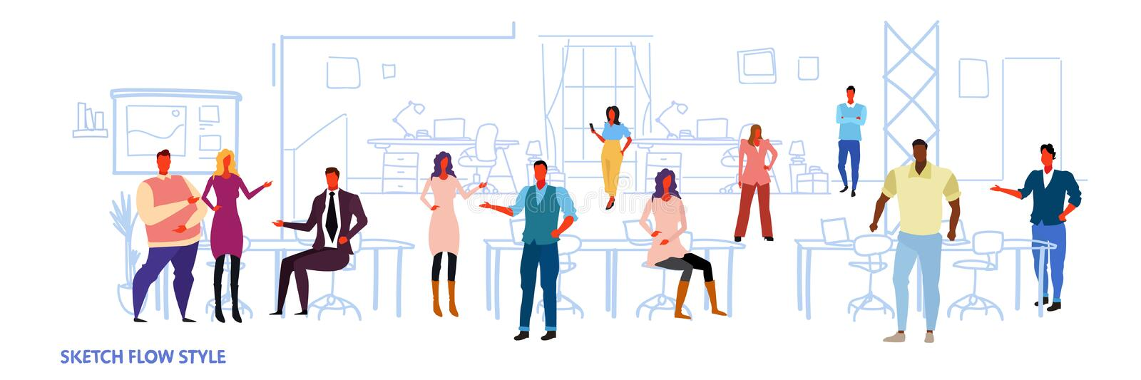 Business people work in co-working office open space center interior creative workplace mix race colleagues royalty free illustration