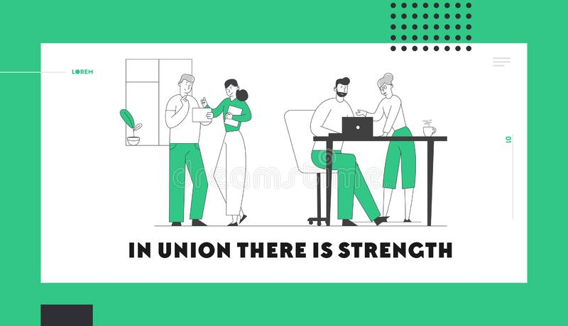 Business People Work in Company, Teamwork Website Landing Page. Design Team Group of Creative Men and Women. Sitting at Office Desk Working in Office Web Page vector illustration