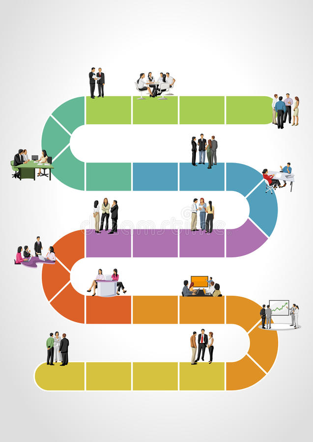 Business people on work flow. Template for advertising brochure with business people on work flow vector illustration