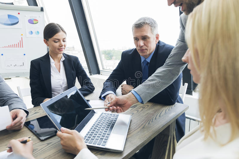Business people work with laptop stock photos