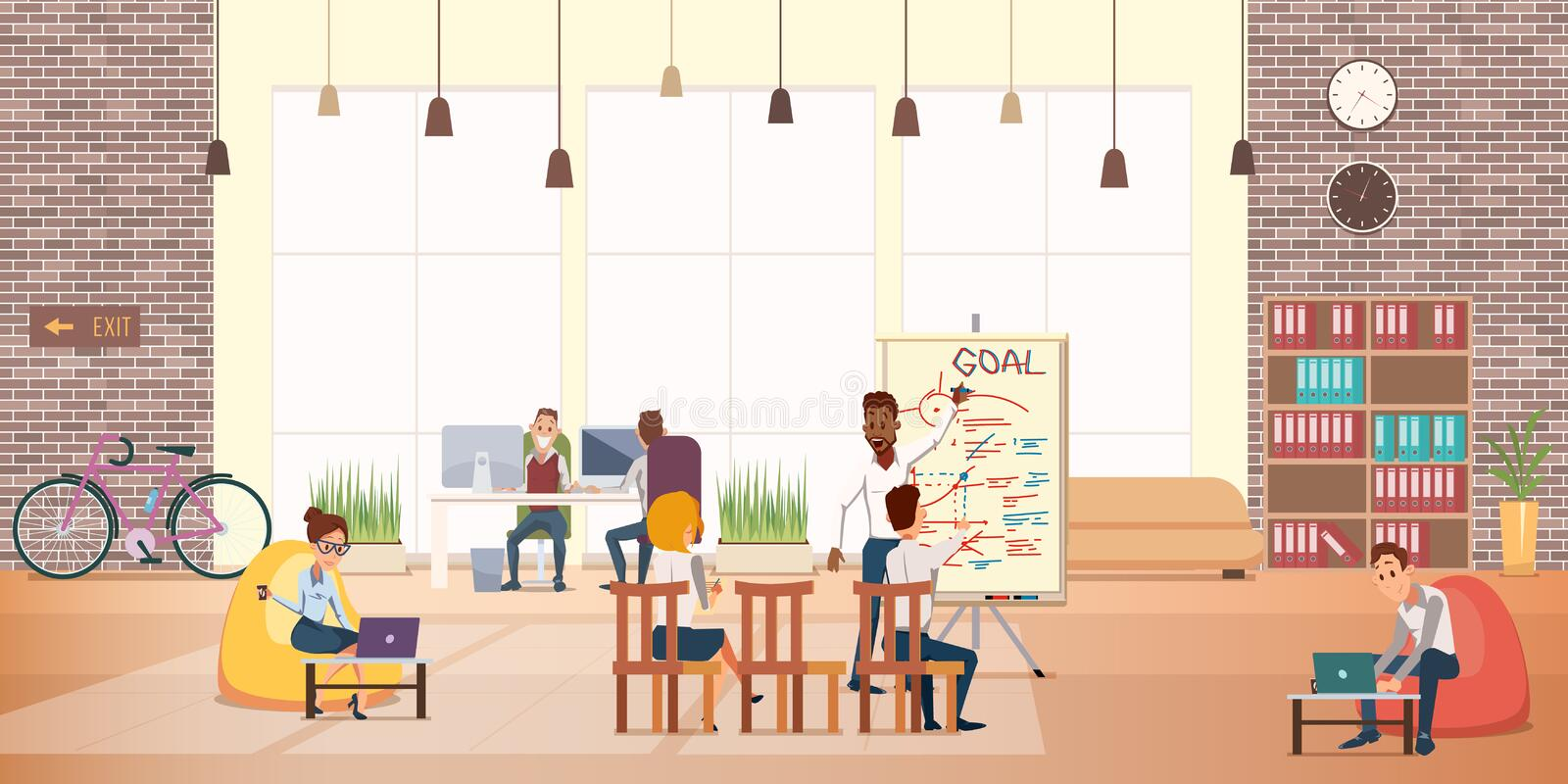 Business People Work Rest in Modern Office Area vector illustration