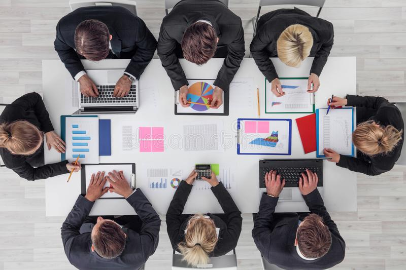 Business people work with statistics stock photo