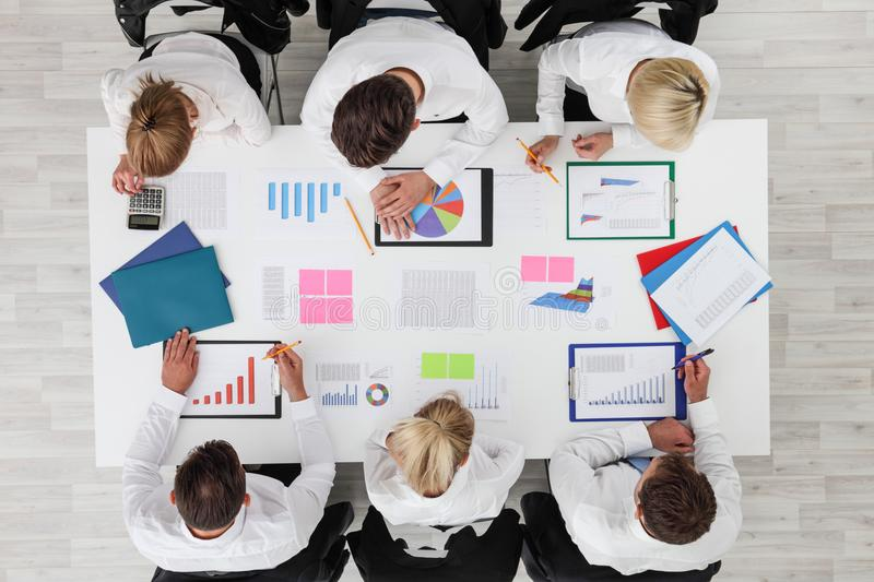 Business people work with statistics royalty free stock photos