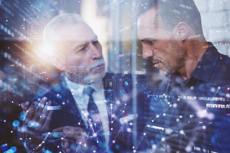 Business people work together. concept of teamwork, partnership and success. Double exposure royalty free stock images