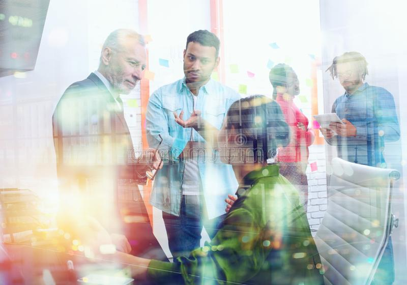 Business people that work together in office. Concept of teamwork and partnership. Double exposure stock images