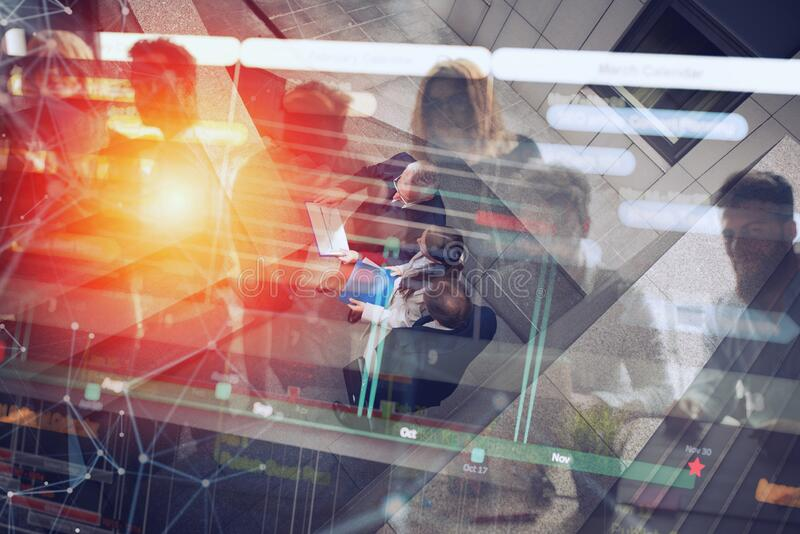 Business people that work together in office. Concept of teamwork and partnership. Double exposure stock illustration