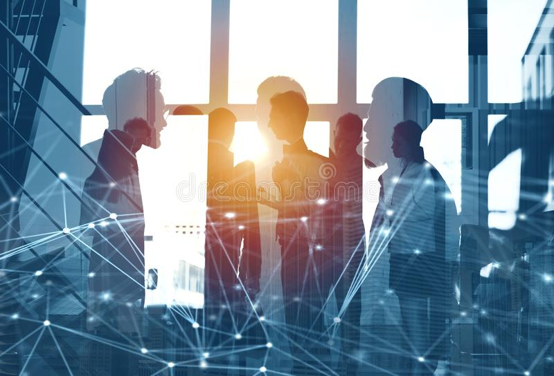 Business people work together in office with internet network effects. Concept of teamwork and partnership. double. Business people work together in office with vector illustration