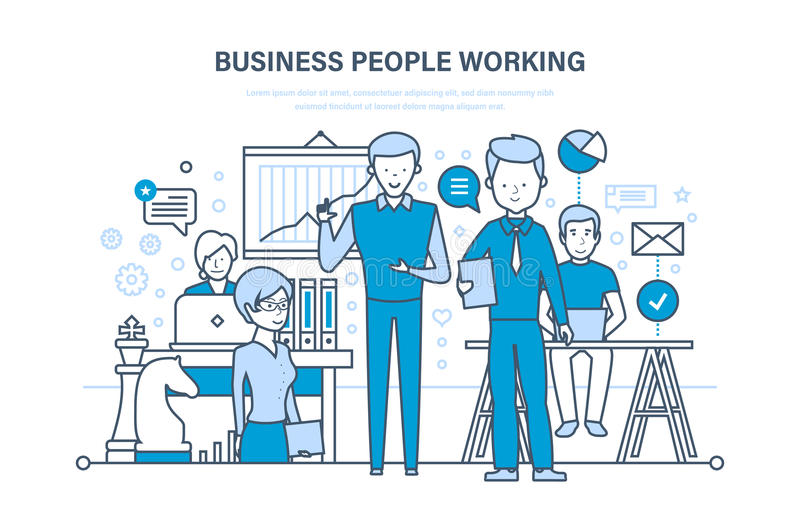 business people working Ομάδα εργασίας, συνάδελφοι, συνεργάτες, ομαδική εργασία και συνεργασία ελεύθερη απεικόνιση δικαιώματος