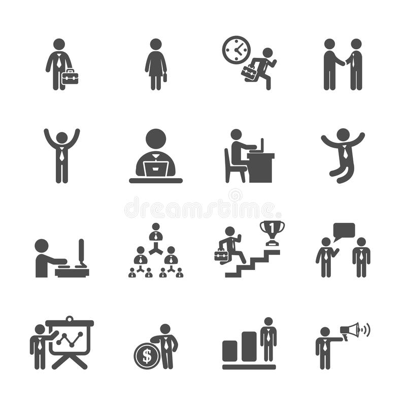 Business people working action icon set, vector eps10 royalty free illustration