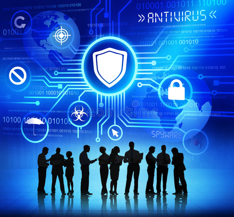 Business People Working and Antivirus Concepts royalty free stock images