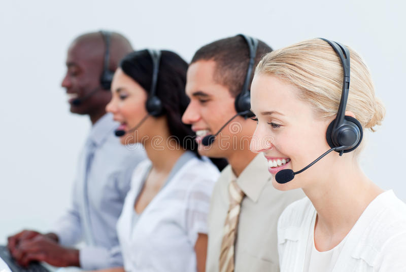 Download Business People Working In A Call Center Stock Photo - Image of headset, afro: 13043444