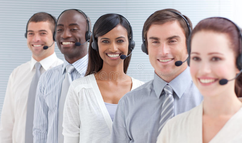 Download Business People Working In A Call Center In A Line Stock Photo - Image: 11308294