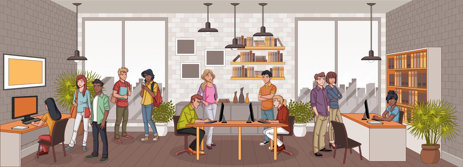 Business people working with computer. Office workspace with desks stock illustration
