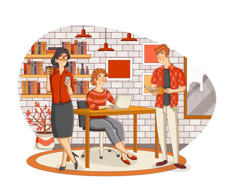 Business people working with computer. Office workspace with desks. stock illustration