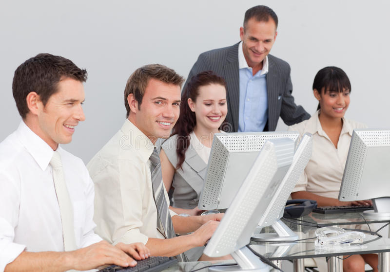 Business People Working With Computers Stock Photos