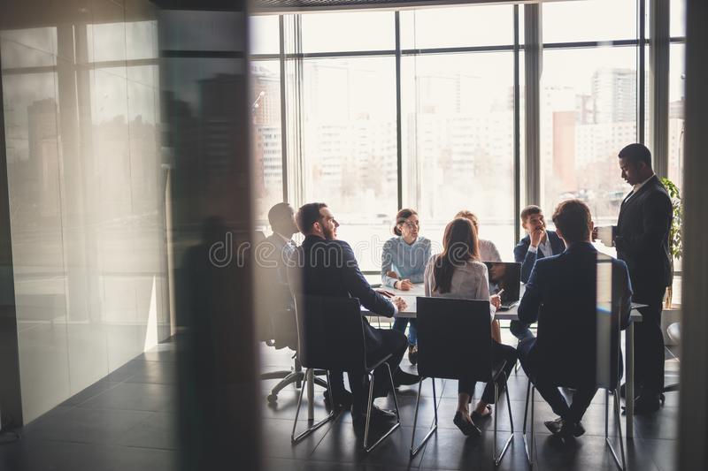 Business people working in conference room royalty free stock image