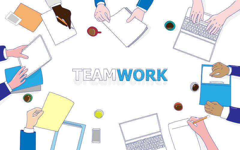 Business people working on a desk top view. Flat design illustration concepts. Design stock illustration