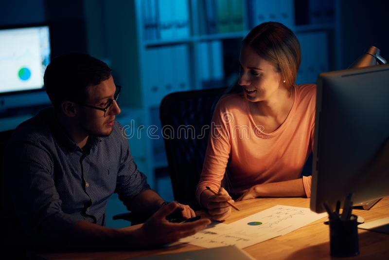Business people working with financial report royalty free stock photo