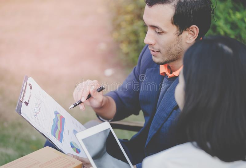 Business people working and meeting outdoor near office royalty free stock photo