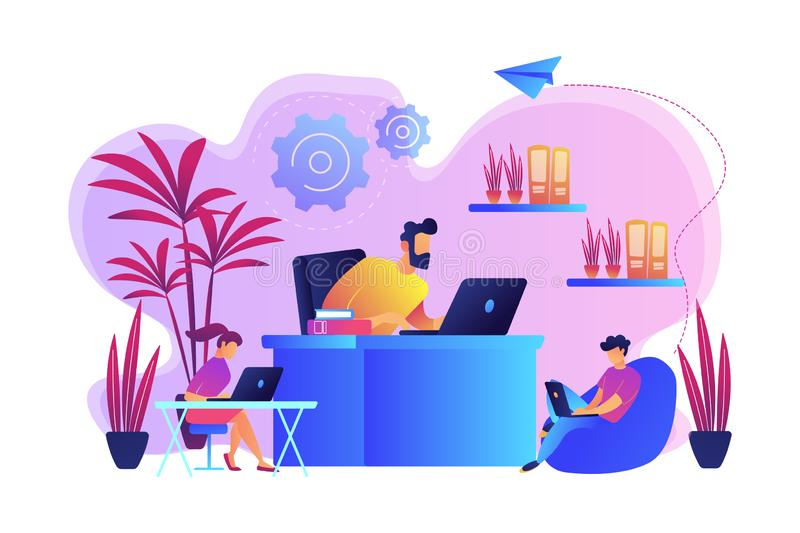 Biophilic design in workspace concept vector illustration. royalty free illustration