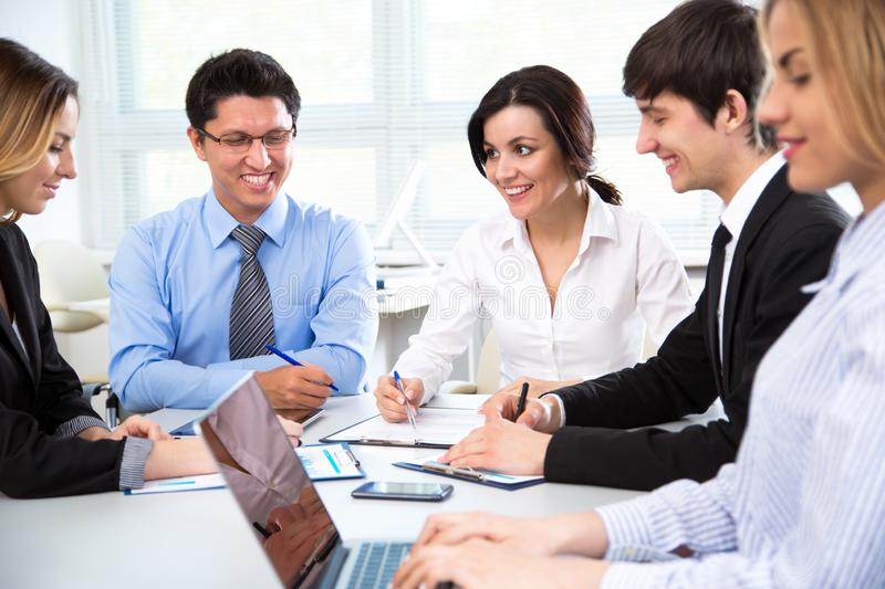 Business people working at modern office stock photography