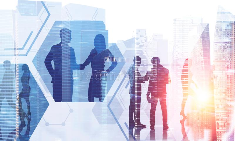 Business people working in morning city. Silhouettes of business people working in morning city. Hexagonal pattern. Concept of business lifestyle. Toned image vector illustration