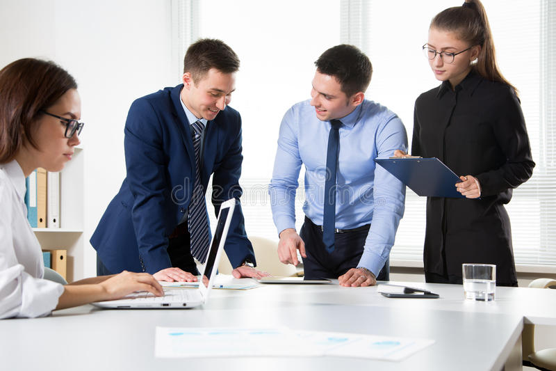 Business people working on new project. At modern office stock images