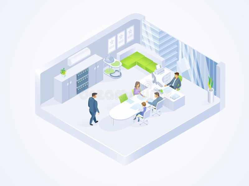 Business People Working in Office Isometric Vector stock illustration