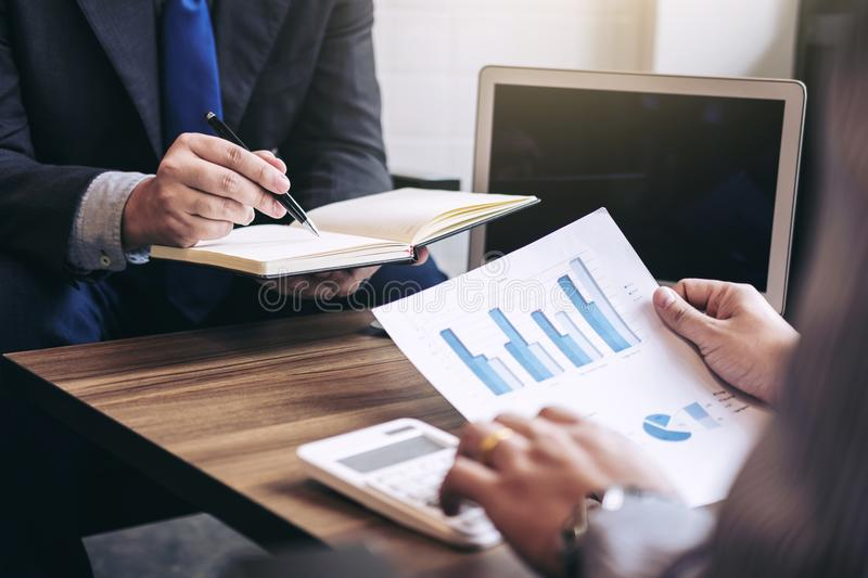 Business people are working in office, presentation in front of royalty free stock photography