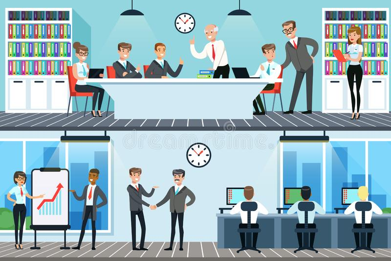 Business people working in office set, men and women having conference and meeting for business collaboration horizontal stock illustration