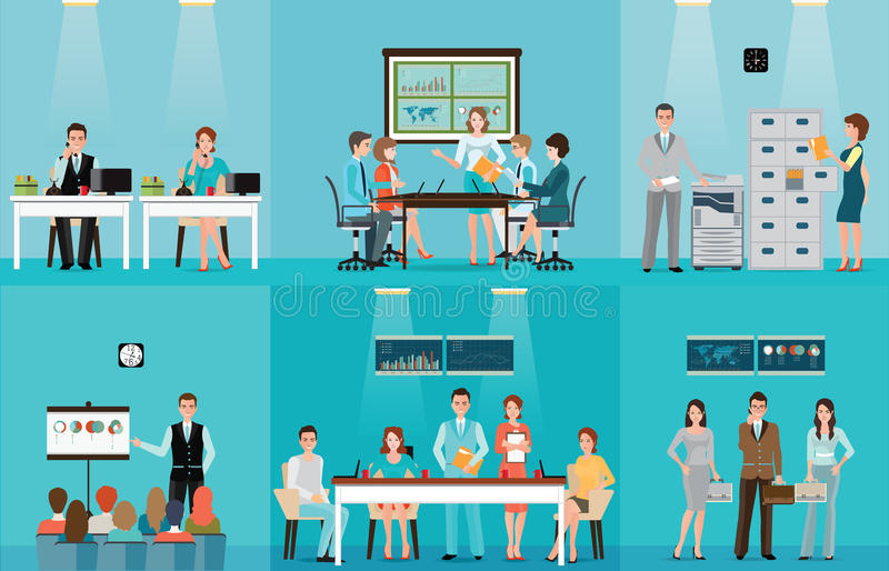 Business people working in office vector illustration