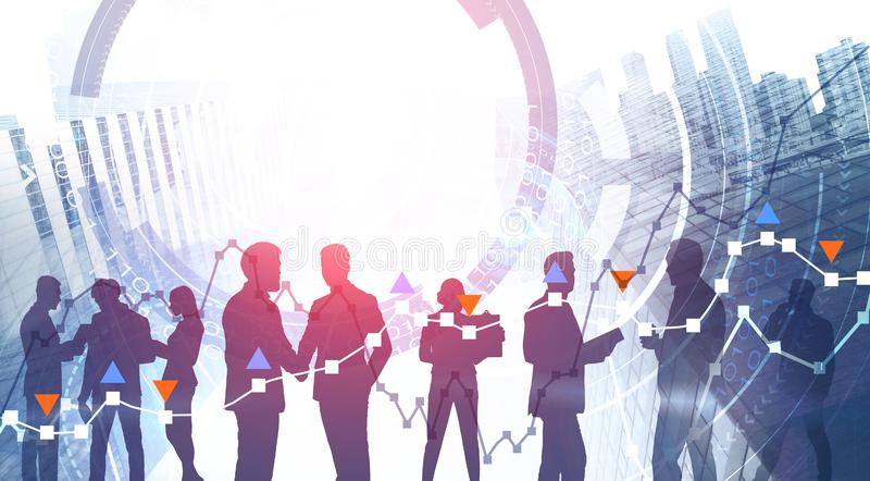Business people working with stock market interface stock images