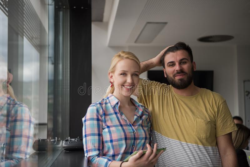 Business People Working With Tablet in startup office stock photo