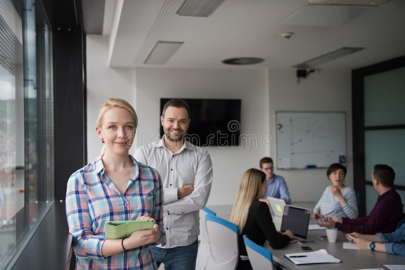 Business People Working With Tablet in startup office royalty free stock photography