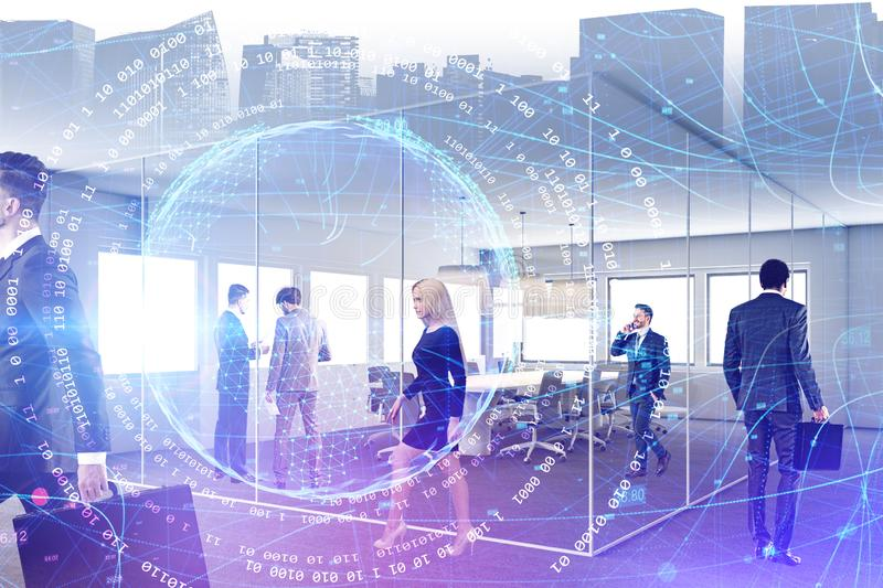 People in office, network and digital planet stock images