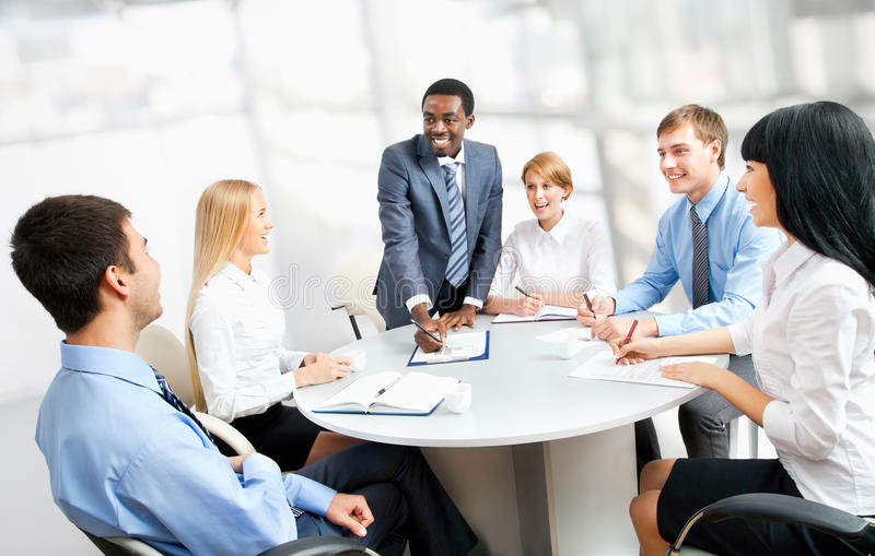 Business people working together. A diverse work group stock image