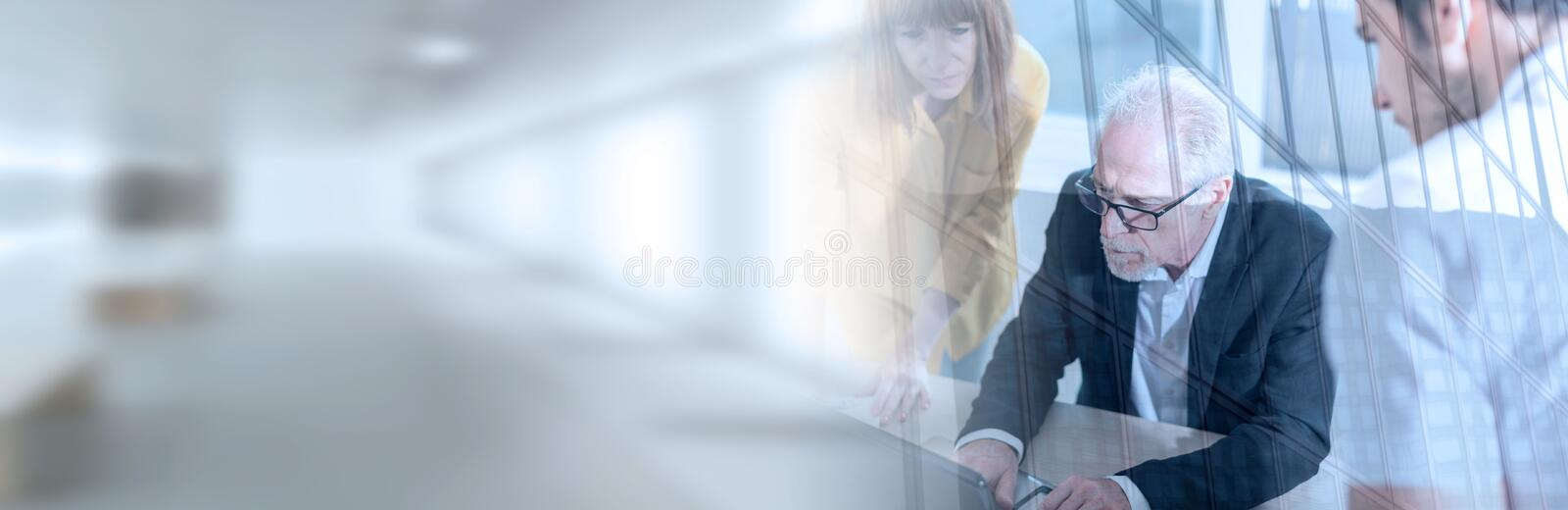 Business people working together, double exposure; panoramic banner royalty free stock photography