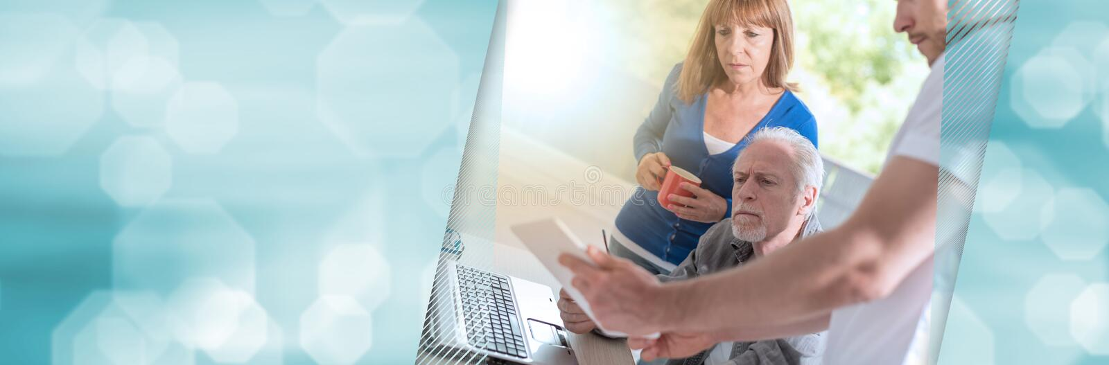Business people working together, light effect; panoramic banner stock photography
