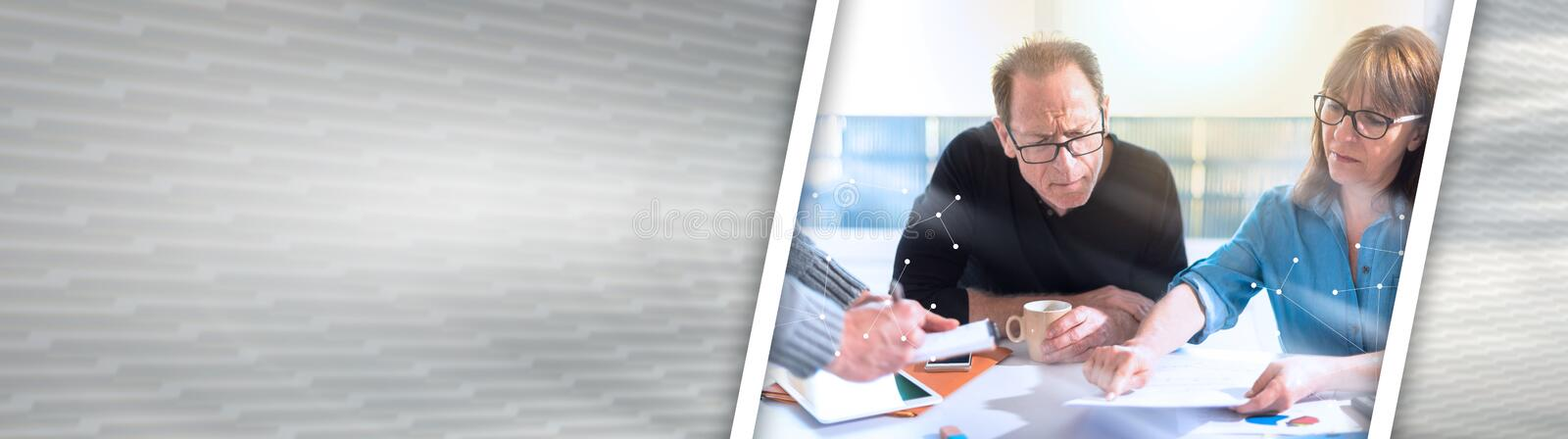 Business people working together, overlaid with network, light effect. panoramic banner stock images