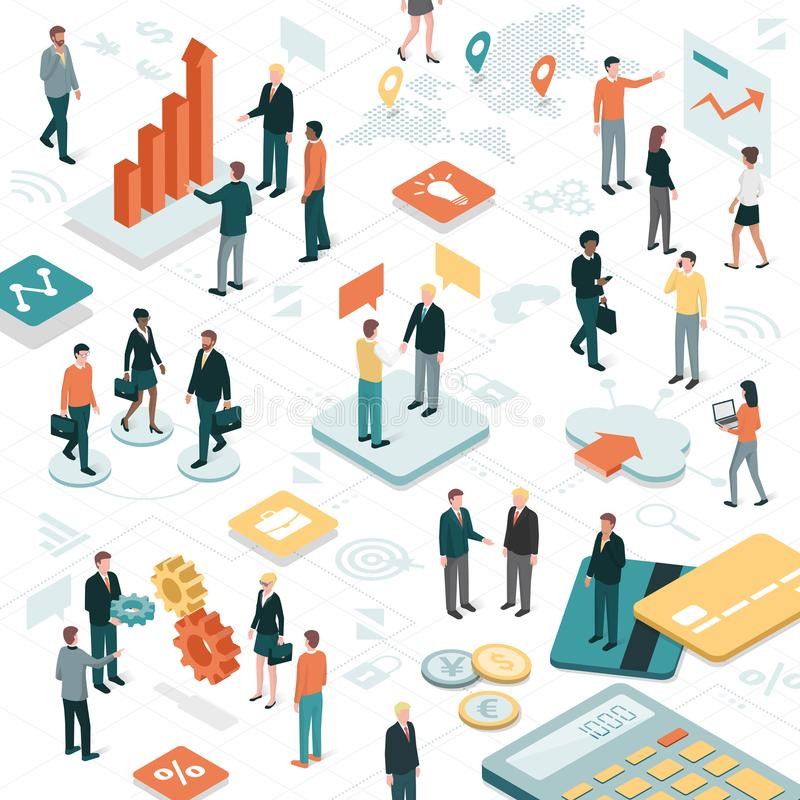 Business people. Working together in a virtual environment, apps and business objects: finance, communication and technology concept vector illustration