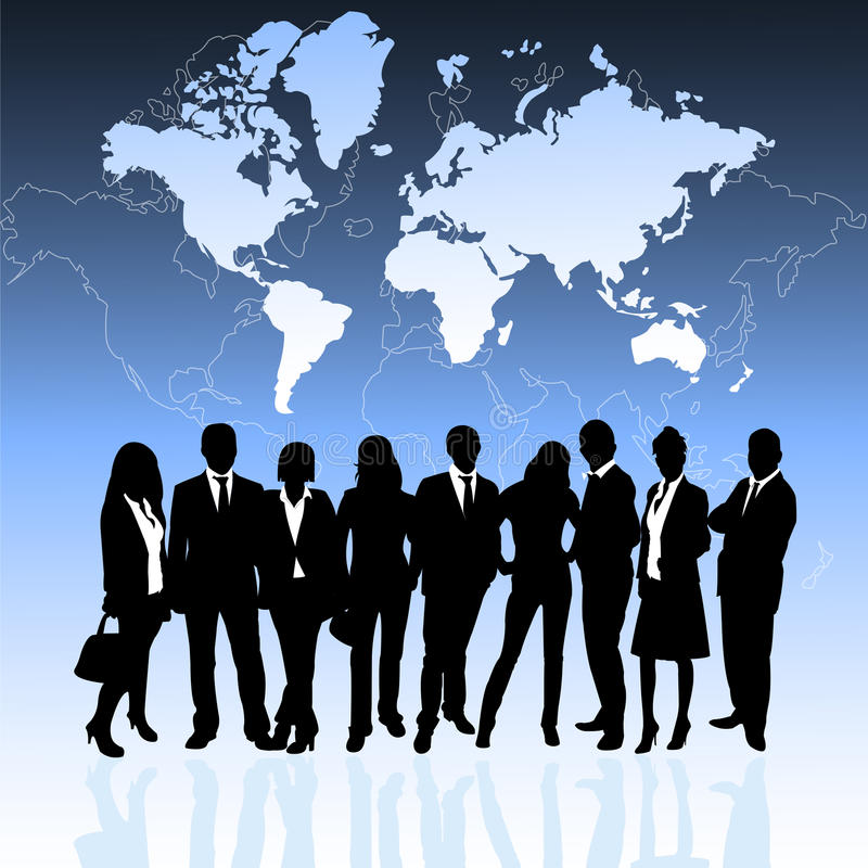 Business people and world map royalty free illustration