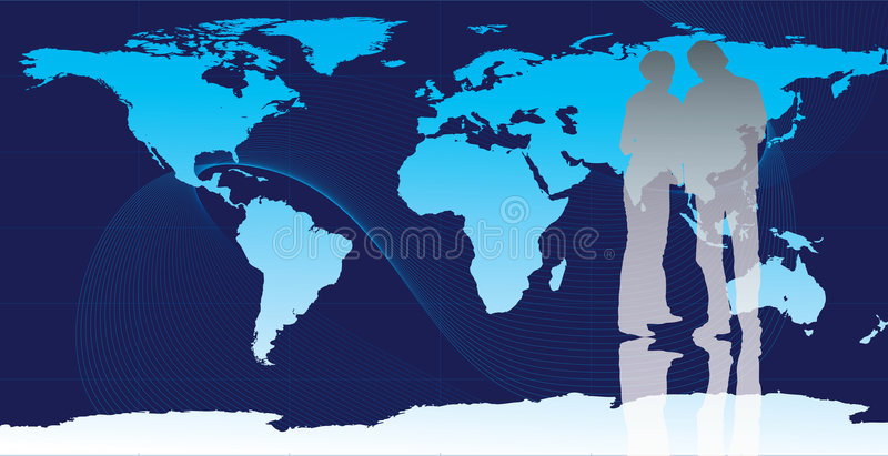 Business people with world map royalty free illustration