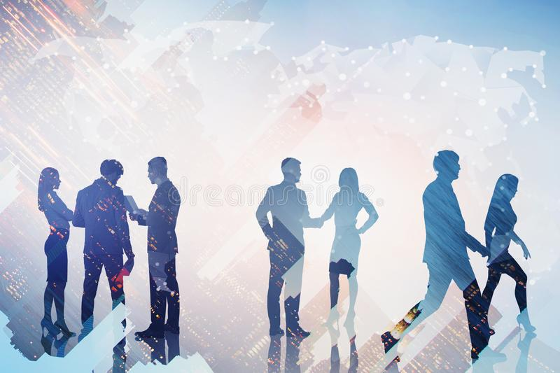 Business people and world map in city royalty free stock photo