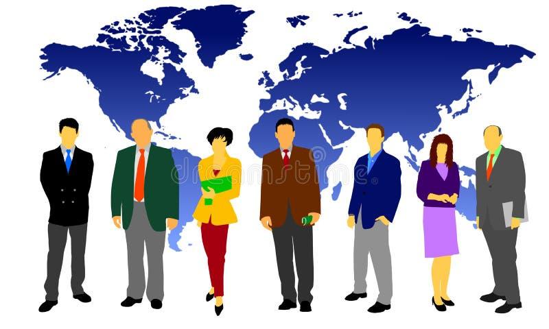 Business people - worldwide. Illustration of a set of business people in front of a worldmap stock illustration