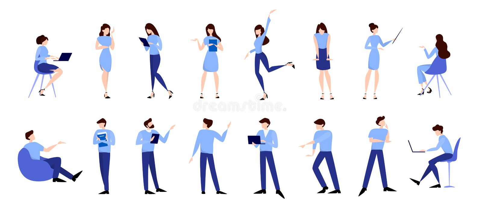 Business pepople set. Man and woman in suit in various poses. Office person, professional worker. Isolated flat vector illustration stock illustration